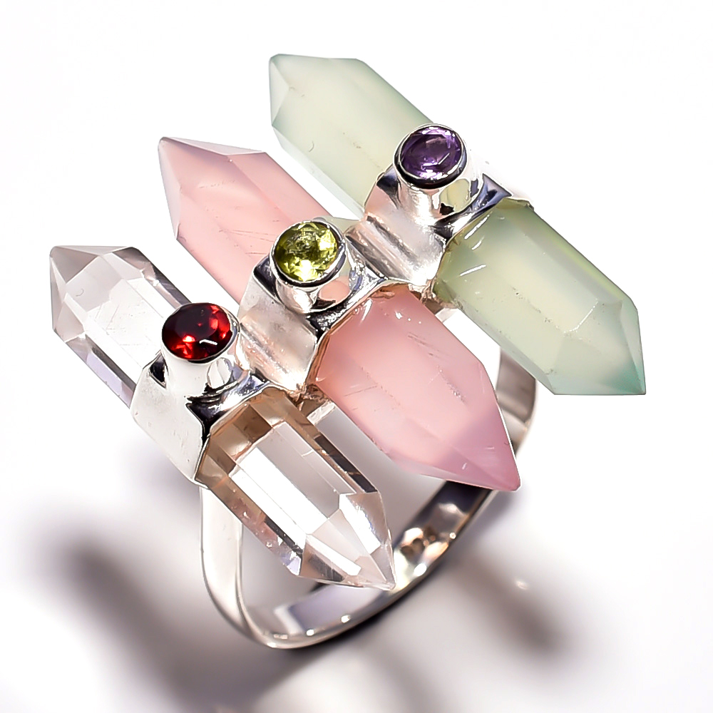 Chalcedony Chrystal Rose Quartz Gemstone 925 Sterling Silver Ring