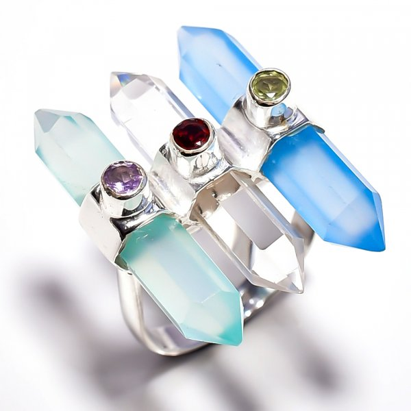 Chalcedony Crystal Gemstone 925 Sterling Silver Ring