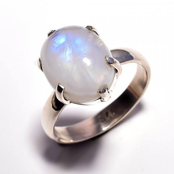 Rainbow Moonstone 925 Sterling Silver Ring Size 6.25