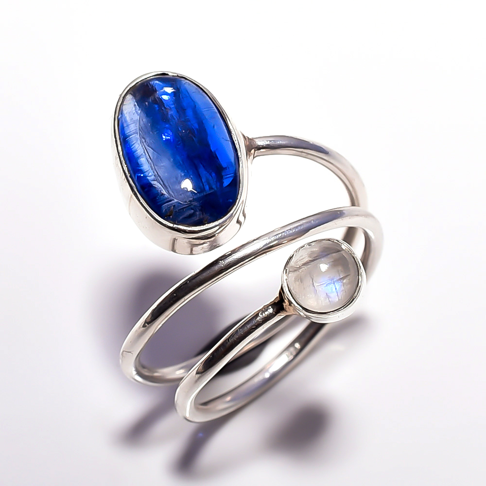 Blue Kyanite Rainbow Moonstone 925 Sterling Silver Ring Size 7