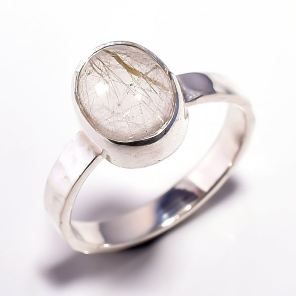Golden Rutile Gemstone 925 Sterling Silver Ring Size 8