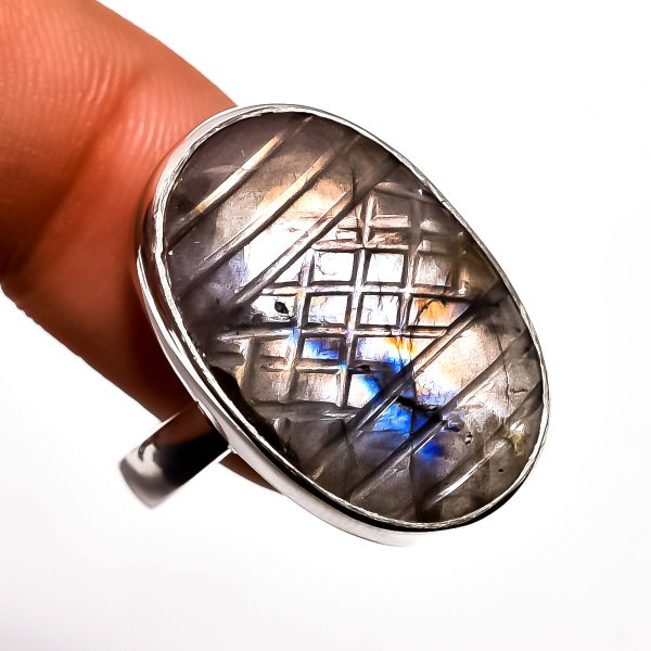 Fire Play Labradorite Carved Gemstone 925 Sterling Silver Ring Size 9