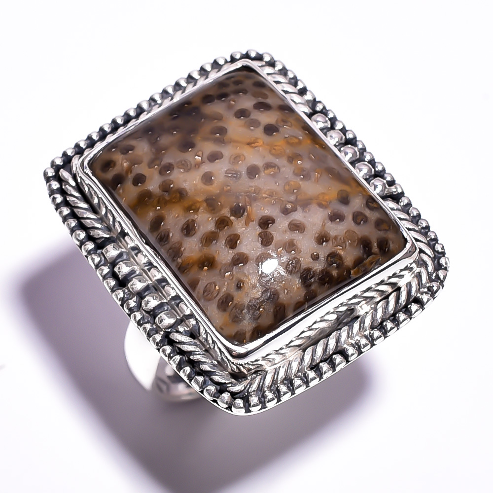 Palm Wood Jasper Gemstone 925 Sterling Silver Ring Size 8.25