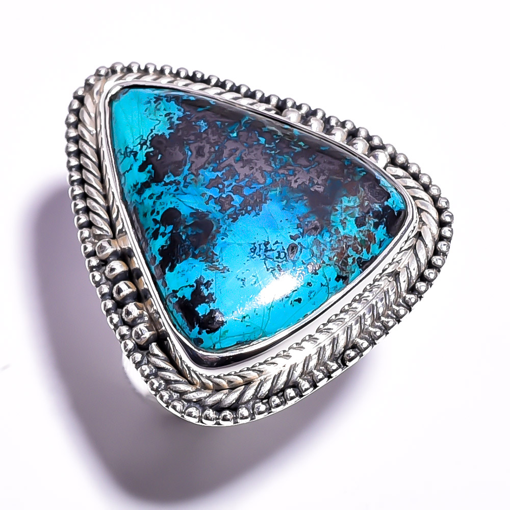Chrysocolla Gemstone 925 Sterling Silver Ring Size 7.25