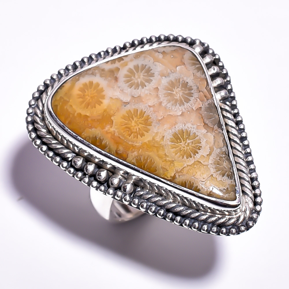 Fossil Coral Gemstone 925 Sterling Silver Ring Size 7.25
