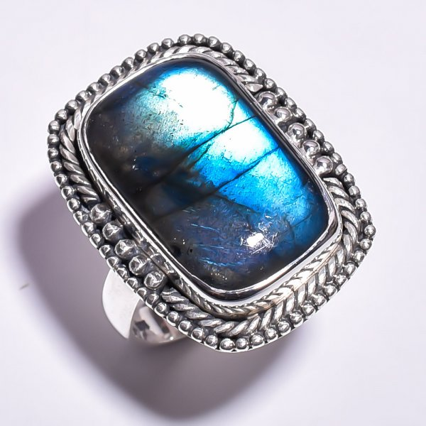 Labradorite Gemstone 925 Sterling Silver Ring Size 8