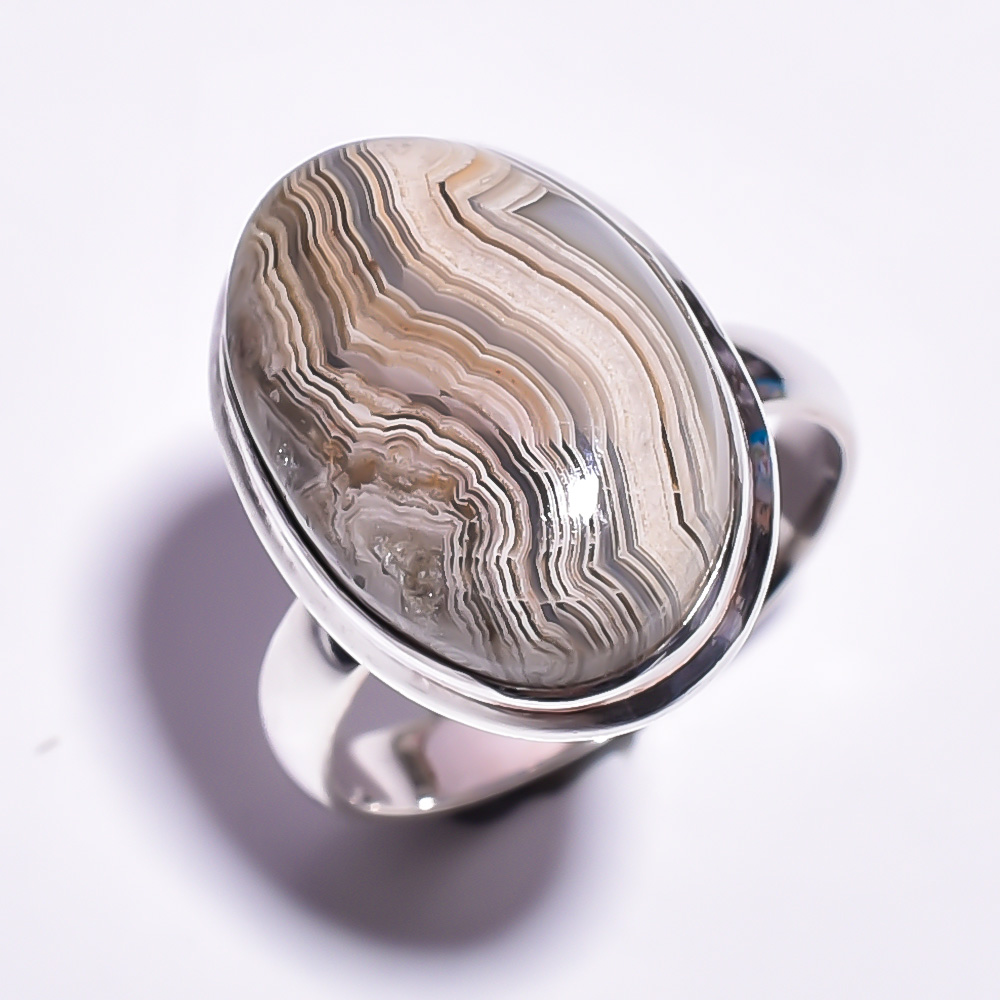 Crazy Lace Agate Gemstone 925 Sterling Silver Ring Size 9