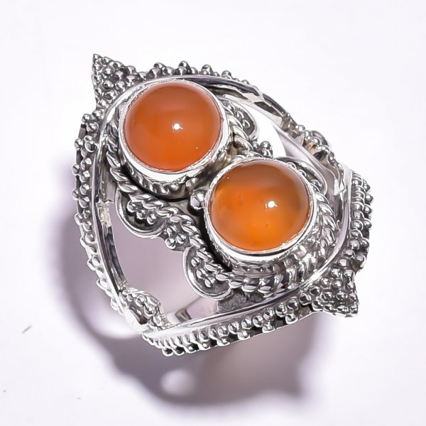 Carnelian Gemstone 925 Sterling Silver Ring Size 6.25