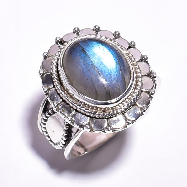 Labradorite Gemstone 925 Sterling Silver Ring Size 5.75