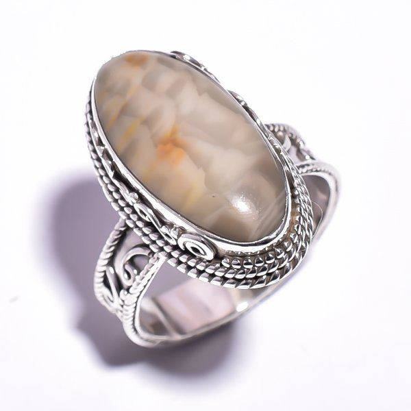 Jasper Gemstone 925 Sterling Silver Ring Size 9