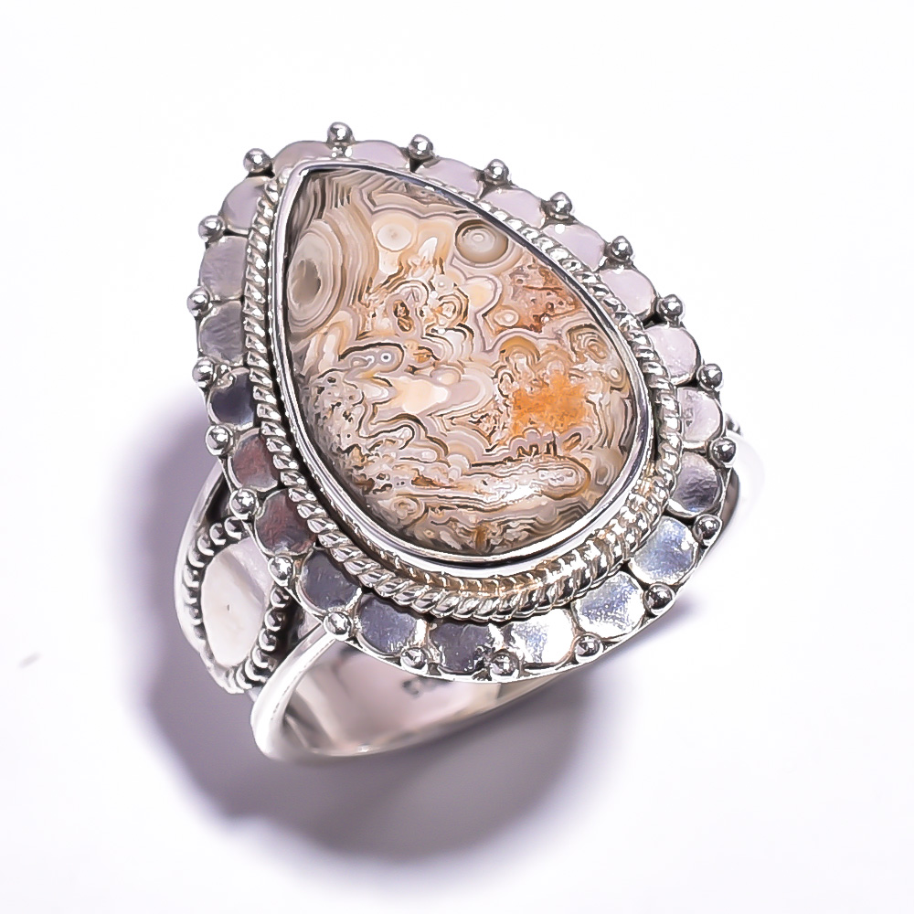 Crazy Lace Agate Gemstone 925 Sterling Silver Ring Size 8.75