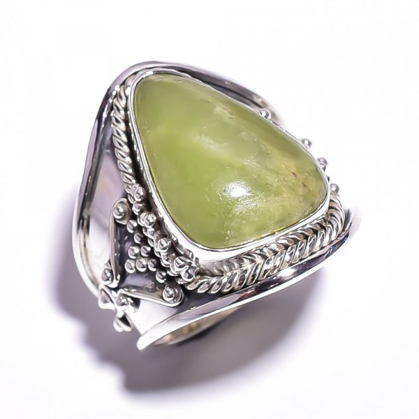 Transvaal Jade Gemstone 925 Sterling Silver Ring Size 6.75