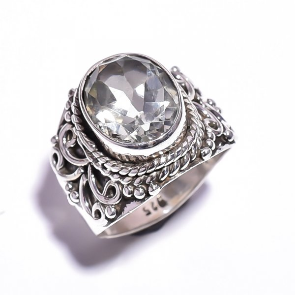 Green Amethyst Gemstone 925 Sterling Silver Ring Size 5.5