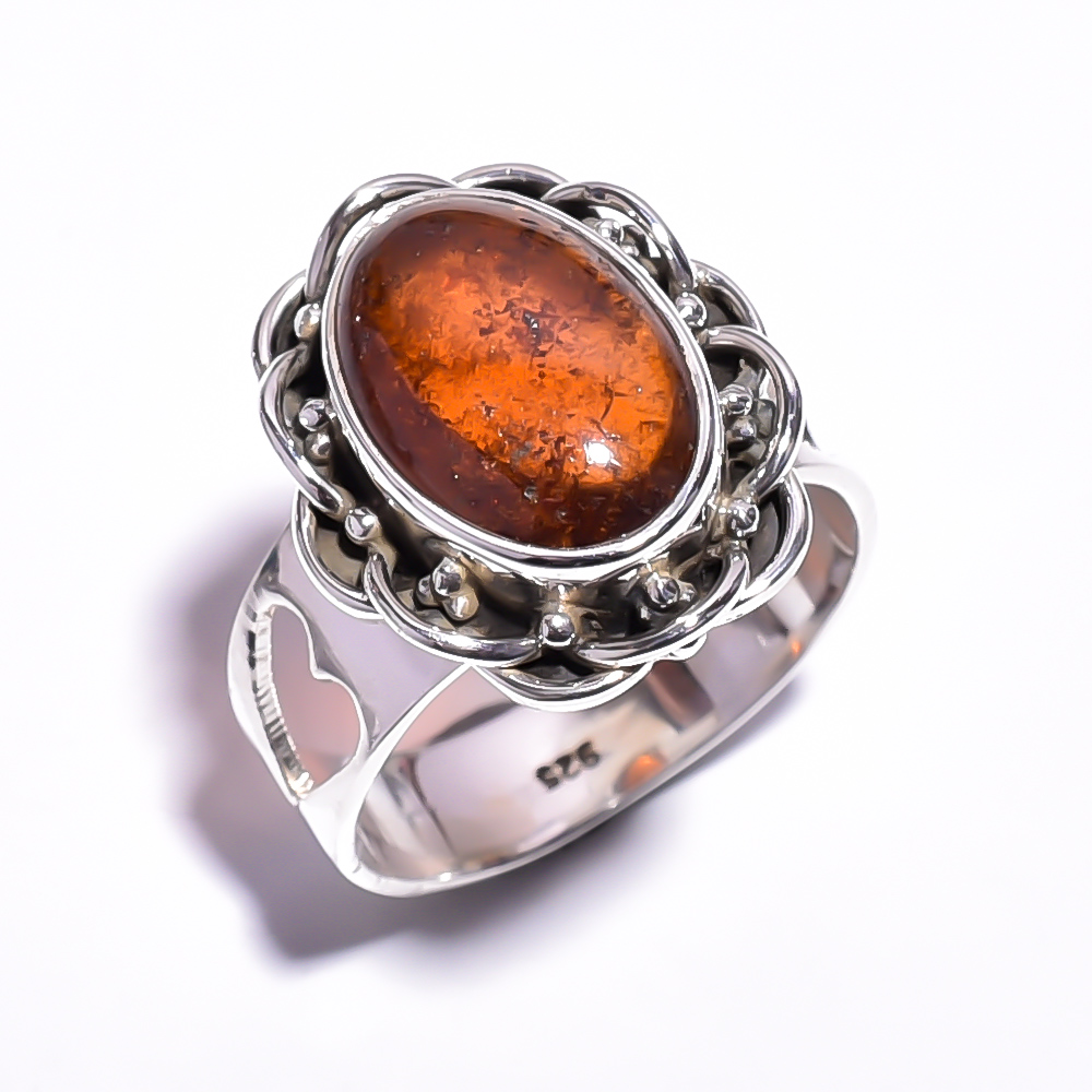 Amber Gemstone 925 Sterling Silver Ring Size 5.75