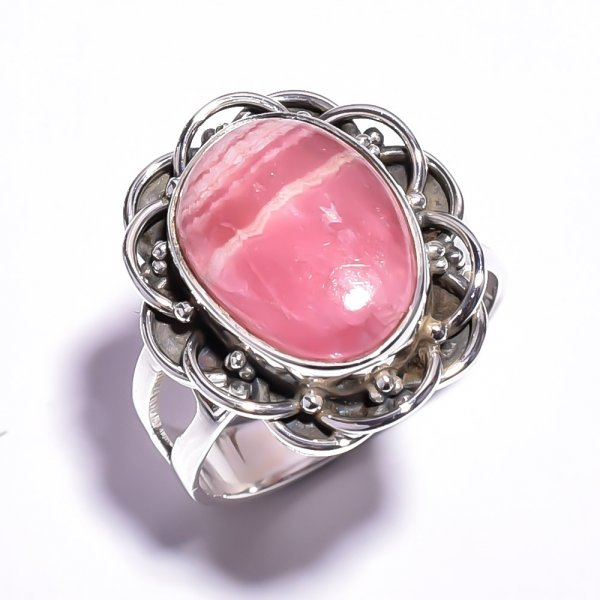 Rhodochrosite Gemstone 925 Sterling Silver Ring Size 7.75
