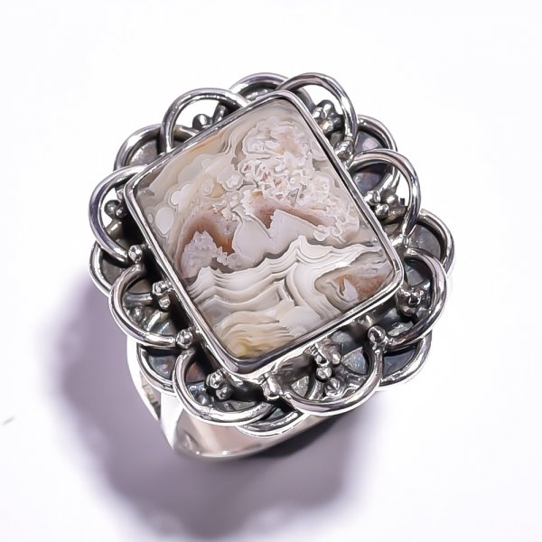 Crazy Lace Agate Gemstone 925 Sterling Silver Ring Size 6.5