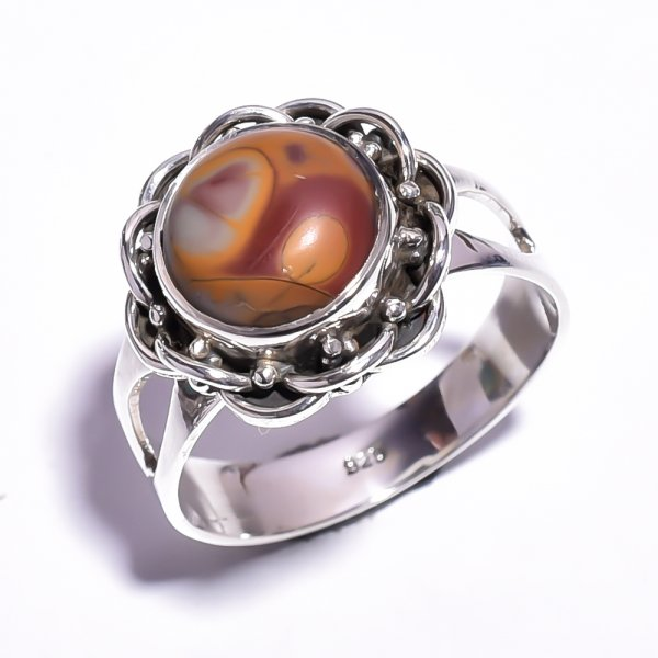 Bamboo Jasper Gemstone 925 Sterling Silver Ring Size 9
