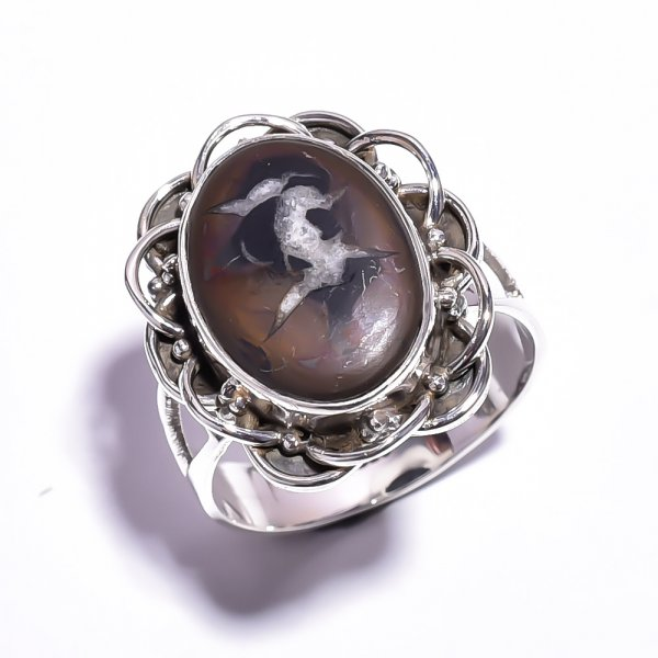 Septarian Gronates Gemstone 925 Sterling Silver Ring Size 7.75