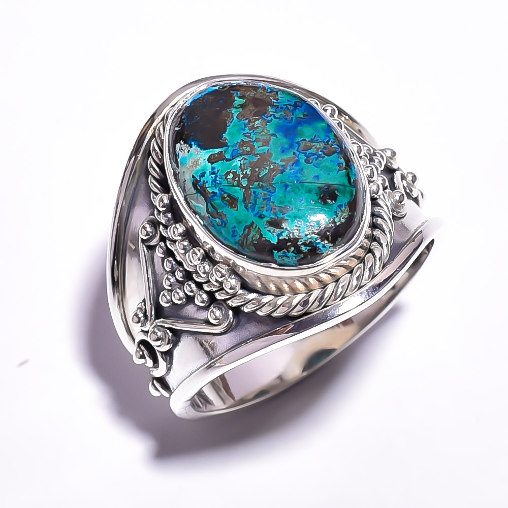Chrysocolla Gemstone 925 Sterling Silver Ring Size 8.25