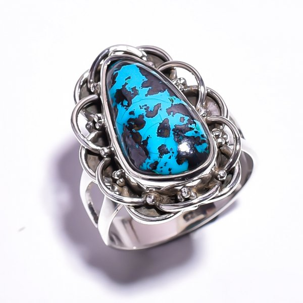 Chrysocolla Gemstone 925 Sterling Silver Ring Size 5.75