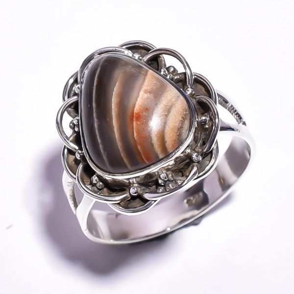 Jasper Gemstone 925 Sterling Silver Ring Size 5.75