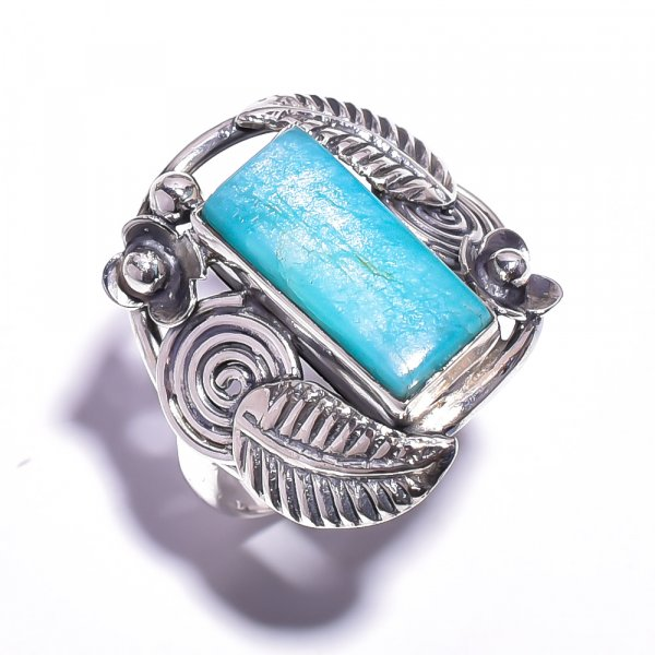 Amazonite Gemstone 925 Sterling Silver Ring Size 7.75