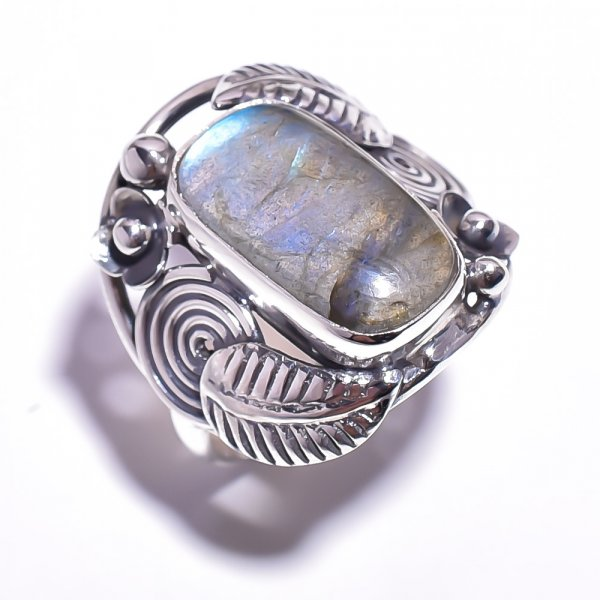 Labradorite Gemstone 925 Sterling Silver Ring Size 8.25
