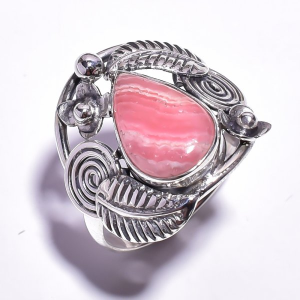 Rhodochrosite Gemstone 925 Sterling Silver Ring Size 9