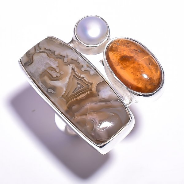 Crazy Lace Agate Amber Gemstone 925 Sterling Silver Ring Size 8.75