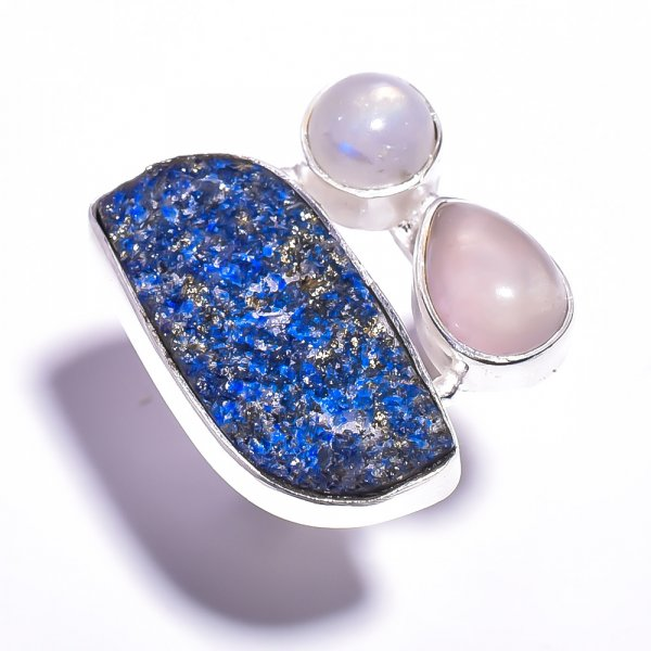 Lapis Rose Quartz Gemstone 925 Sterling Silver Ring Size 8.75