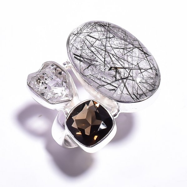 Rutile Herkimer Diamond Gemstone 925 Sterling Silver Ring Size 6.25