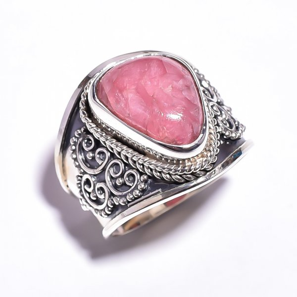 Rhodochrosite Gemstone 925 Sterling Silver Ring Size 6