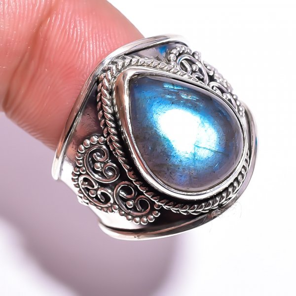 Labradorite Gemstone 925 Sterling Silver Ring Size 7.75