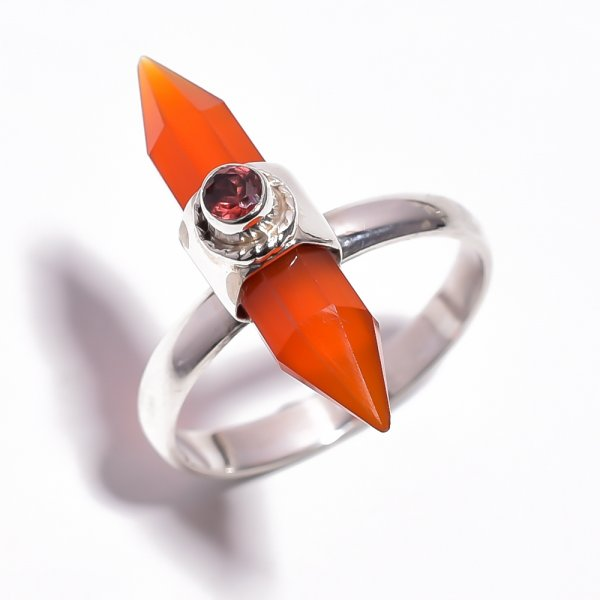 Carnelian Gemstone 925 Sterling Silver Ring Size 9.5