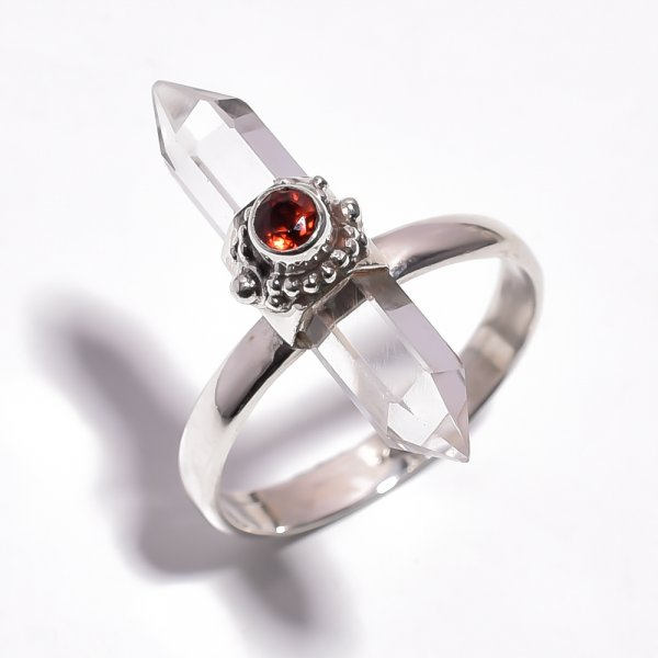 Crystal Gemstone 925 Sterling Silver Ring Size 9