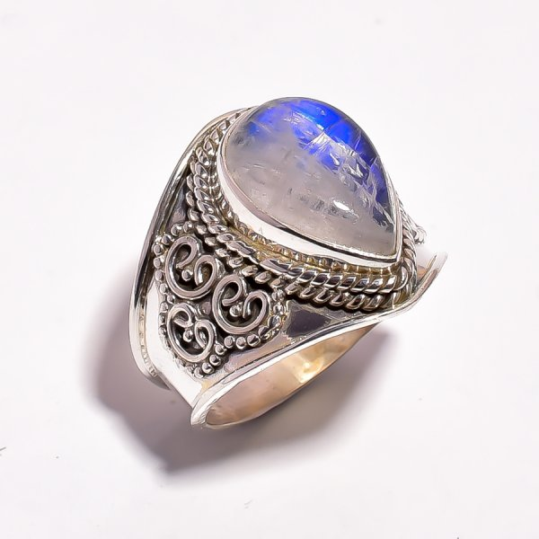 Rainbow Moonstone 925 Sterling Silver Ring