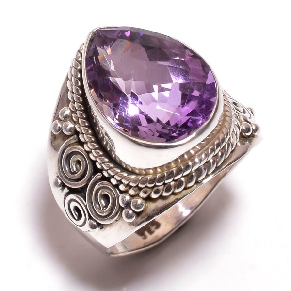Amethyst Gemstone 925 Sterling Silver Ring Size 9.25