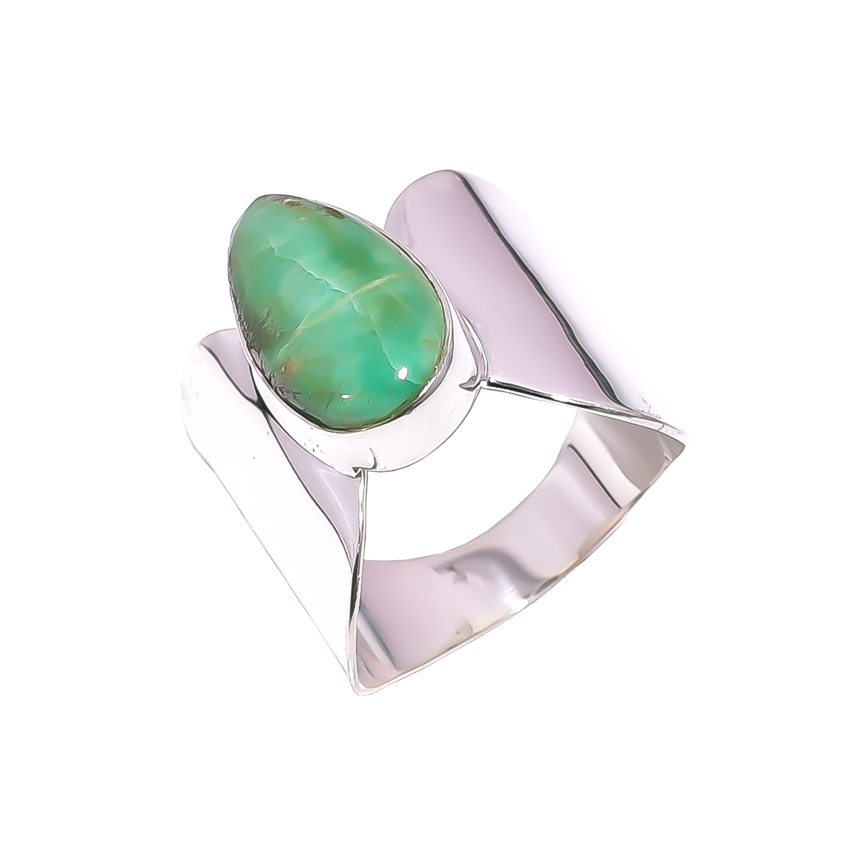 Variscite Gemstone 925 Sterling Silver Ring Size US 10