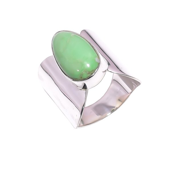 Variscite Gemstone 925 Sterling Silver Ring Size US 8
