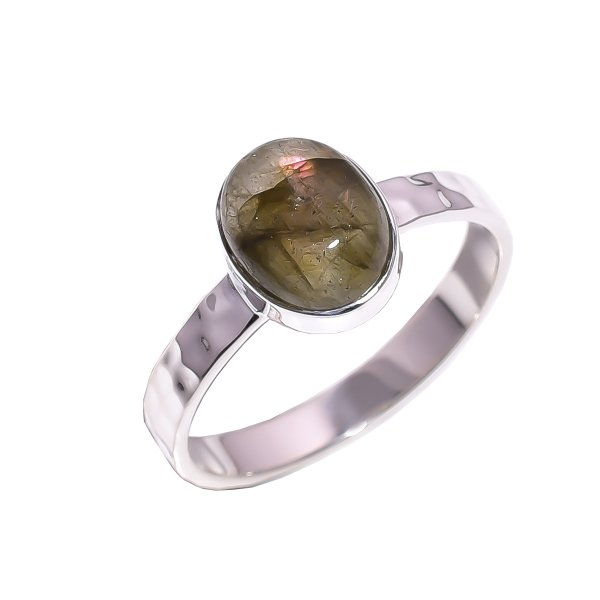 Purple Labradorite Gemstone 925 Sterling Silver Ring Size US 11