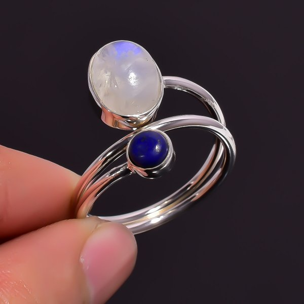 Rainbow Moonstone Lapis 925 Sterling Silver Adjustable Ring