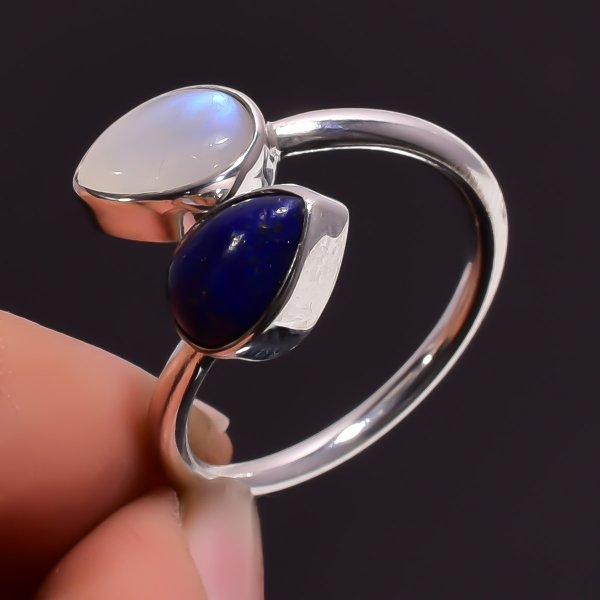 Rainbow Moonstone Lapis Gemstone 925 Sterling Silver Adjustable Ring Size US 7.75
