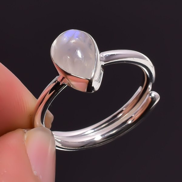 Rainbow Moonstone Gemstone 925 Sterling Silver Adjustable Ring
