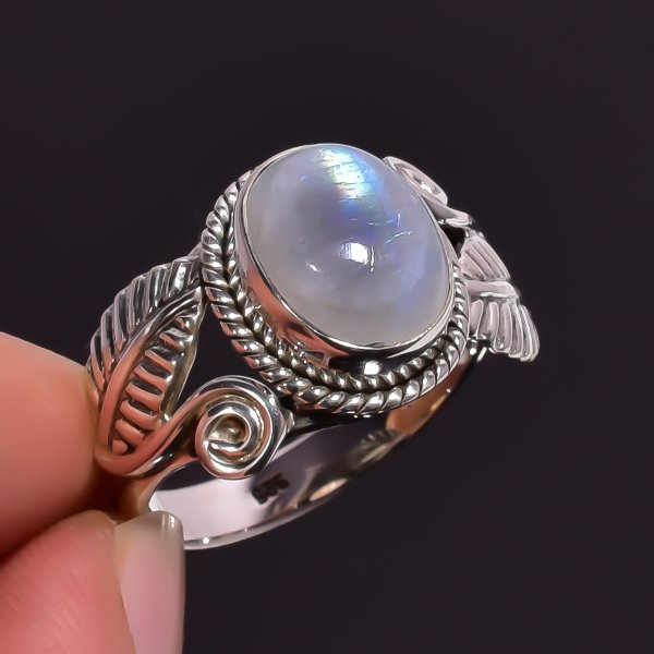 Rainbow Moonstone Gemstone 925 Sterling Silver Ring