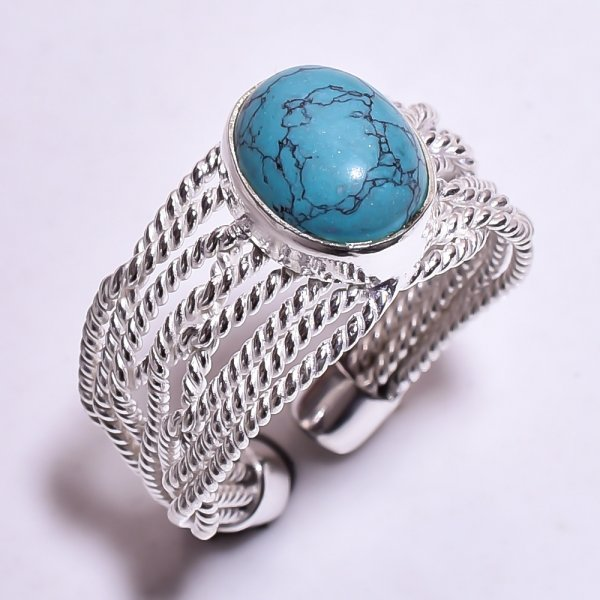 Turquoise Gemstone 925 Sterling Silver Ring Size US 7.75 Adjustable