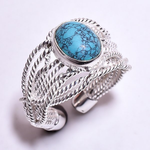 Turquoise Gemstone 925 Sterling Silver Ring Size US 7 Adjustable