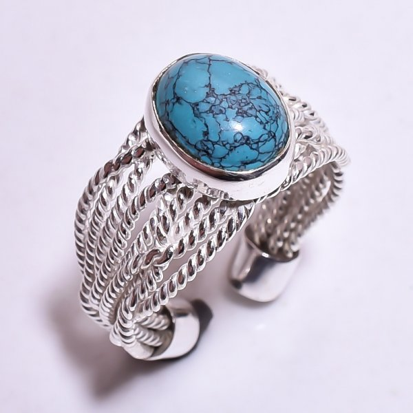 Turquoise Gemstone 925 Sterling Silver Ring Size US Adjustable