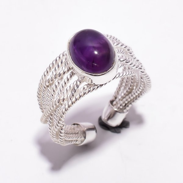 Amethyst Gemstone 925 Sterling Silver Adjustable Ring Size