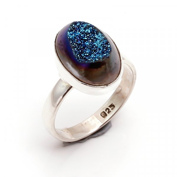 Druzy Gemstone 925 Sterling Silver Ring Size US 8