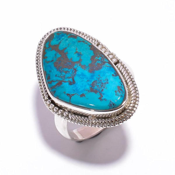 Chrysocolla Gemstone 925 Sterling Silver Ring Size US 8.75